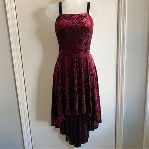 Aqua Red Velvet and Mesh Hi Low Dress